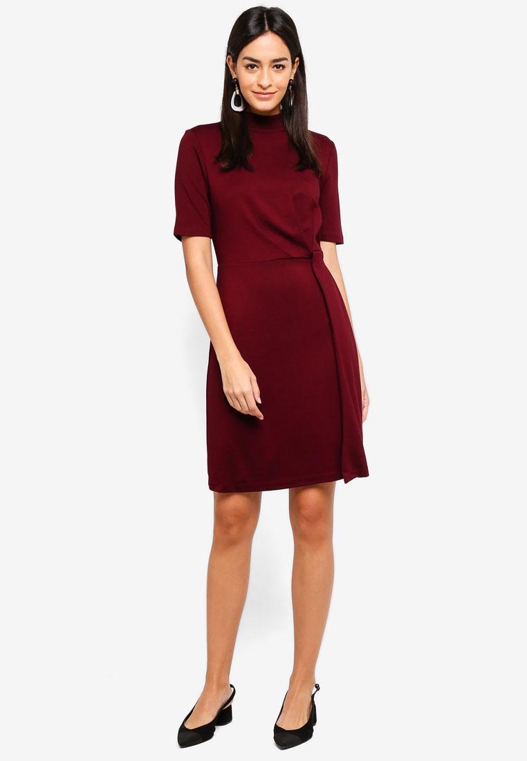 Berry Front Knot WAREHOUSE Ponte Dress 8XITfqP