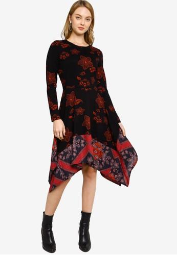Desigual black and red Slim Boho Dress CA153AAEB55711GS_1