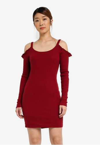 Hollister red Cozy Cold Shoulder Dress HO422AA0SJOBMY_1