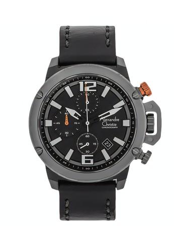 Alexandre Christie black Alexandre Christie Jam Tangan Pria - Black Grey - Leather Strap - 6487 MCLEPBA 36EF7AC61285B4GS_1