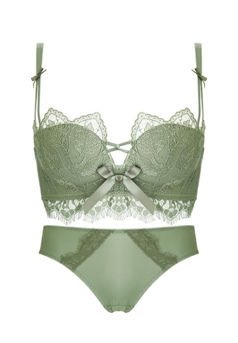 ZITIQUE green Women's Chic Lace-trimmed Push Up Lingerie Set (Bra And Underwear) - Green FB70EUS9D6781CGS_1