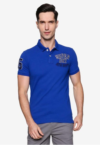 Superdry blue Oldskool Superstate Pique Polo Shirt 1939DAAACE5344GS_1