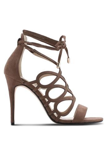 ZALORA brown Swirl Lace Heels 82516SH3252EC1GS_1