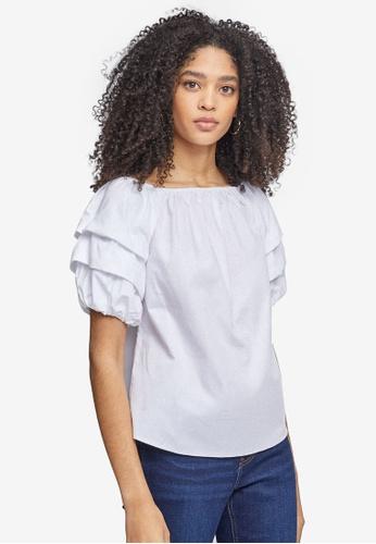Dorothy Perkins white White Cotton Bardot Top 40039AA8F139B5GS_1