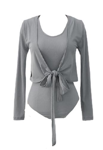 Halo 灰色 (兩件套)長袖外套連修身泳衣 16563USBB57151GS_1