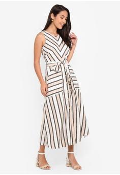 36f15cbb621de WAREHOUSE Stripe Linen Midi Dress S$ 129.00. Sizes 6 8 10 12 14