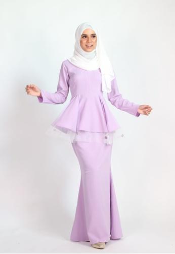 CLARA PEPLUM KURUNG from Coudre Kuala Lumpur in Purple