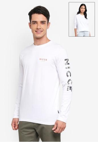 Nicce London white Fusion Camo Long Sleeve T-Shirt C4F7CAAEABAC27GS_1