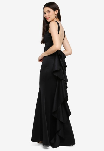 Goddiva black Open Back Waterfall Maxi Dress FBABCAA2995A45GS_1