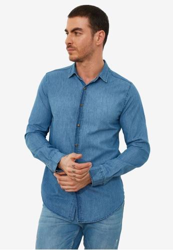 Trendyol blue Navy Slim Fit Basic Denim Shirt EF36BAAF59CCC2GS_1