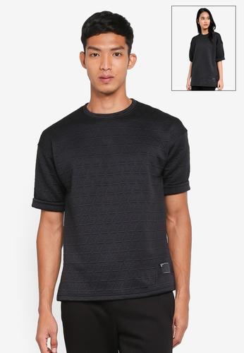 UniqTee black Diagonal Textured Oversized Short Sleeve T-Shirt B41E4AAC8026C4GS_1