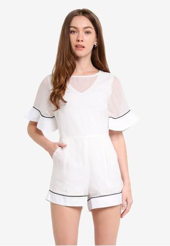 Megane white Elicia Romper ME617AA0RR2JMY_1