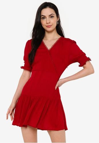 ZALORA BASICS red Wrap Front Lace Trim Dress 63438AAD450CE7GS_1