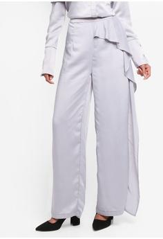 fdbc581b819 Lavish Alice grey Draped Asymmetric Wide Leg Satin Trousers LA457AA0SSQWMY 1