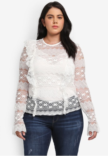 ELVI white Plus Size White Lace Top EL779AA0T1Q0MY_1
