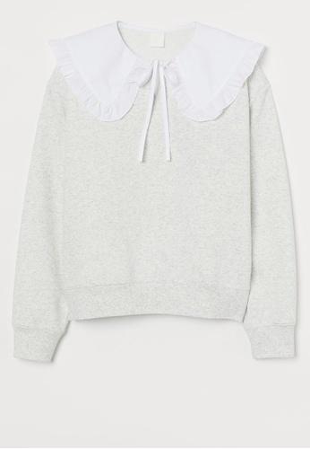 H&M grey Collared sweatshirt 69824AAD9A49C5GS_1