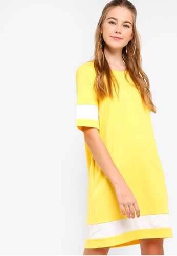 Something Borrowed yellow Colorblock T-Shirt Dress DC23BAA60A9101GS_1