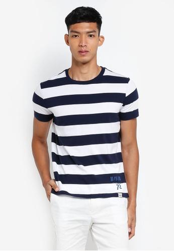 OVS 藍色 休閒條紋T恤 E5B6CAA93BB7A9GS_1