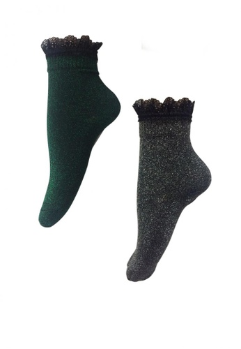 Chase Fashion grey and green Metallic Glitter Lace Ankle Socks 61E7AAA329076FGS_1