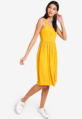 ZALORA yellow Button Detail Dress 948BCAA5F7335CGS_1