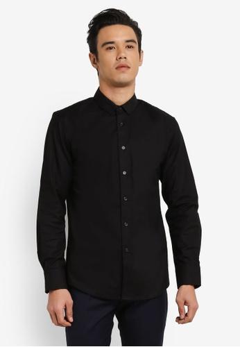 ZALORA black Skinny Fit Oxford Long Sleeve Shirt EF87BAA9454261GS_1