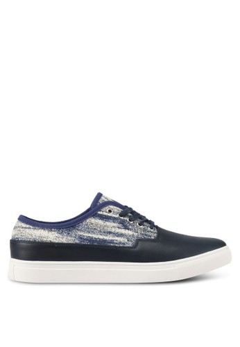 JAXON navy Mixed Materials Tweed Casual Sneakers 4ECCFSH3B27314GS_1