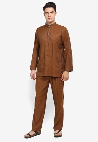 Mayasilk brown Baju Melayu SB Line Dainty Print D0C8DAA80F84F8GS_1