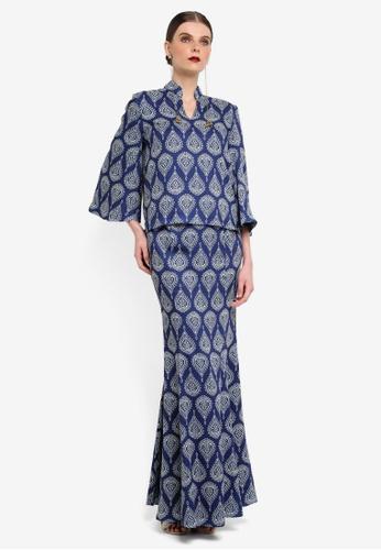 Rizalman for Zalora white and blue Kedah Collar Kurung RI909AA0SF1BMY_1
