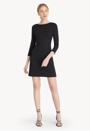 Pomelo black Mini Open Back Long Sleeve Dress - Black 96B6CAA8E47F88GS_1