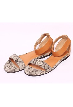 Monique Python Open Toe Camel Sandals