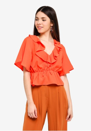 Glamorous orange Frill Front Tie Top D065BAAC76510EGS_1