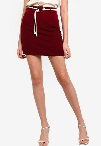 ZALORA BASICS red Round Buckle Mini Skirt A0D53AA9E84F63GS_1