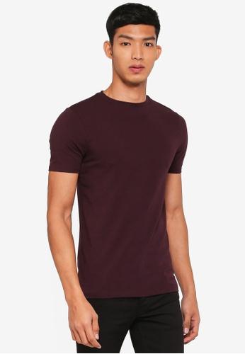 River Island purple Dark Red Muscle Fit Short Sleeve T-Shirt 764D1AA3EEEFC8GS_1
