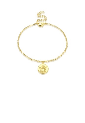 Glamorousky silver Simple Fashion Plated Gold Angel Round Bracelet F053EAC8696763GS_1