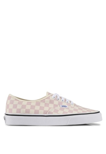 VANS pink and beige Authentic Checkerboard Sneakers VA142SH0SWS9MY_1