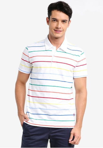 Brooks Brothers white Red Fleece Multi Color Stripe Polo Shirt 55E55AA1A0732EGS_1