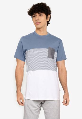 !Solid blue Colour Block T-Shirt 6DDBFAACF5E4FCGS_1