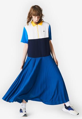 Lacoste blue Women's Colourblock Flowy Pleated Skirt Polo Dress 748BEAA187578AGS_1
