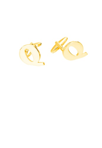 Glamorousky silver Simple Personality Plated Gold English Alphabet Q Cufflinks B0EE7AC14CEC1BGS_1