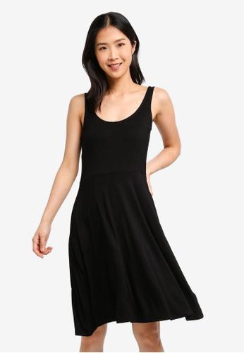 ZALORA BASICS black Basic Strappy Midi Fit & Flare Dress D565AAA3CF76E7GS_1