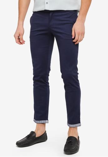ZALORA blue Slim Fit Reverse Printed Cuff Cotton Chinos 00892AAEA2C2B0GS_1
