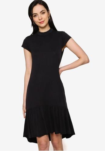Origin by Zalora black Ruffle Hem Dress mad from TENCEL™ B4D8AAA595CF9EGS_1