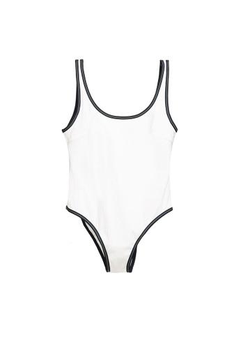 H&M white High Leg Swimsuit 32573US16B148AGS_1