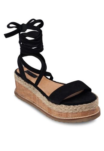 交織纏繞羅馬鬆糕涼zalora 衣服尺寸鞋, 女鞋, 鞋