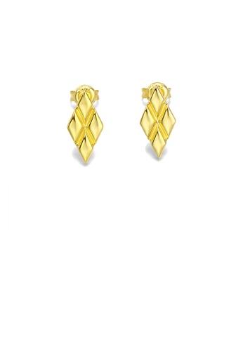 Glamorousky silver 925 Sterling Silver Plated Gold Simple Fashion Line Geometric Diamond Stud Earrings F5605AC675C688GS_1