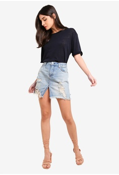 3eacd964e 31% OFF Free People Relaxed & Destroyed Skirt S$ 103.00 NOW S$ 70.90 Sizes  28 in 29 in