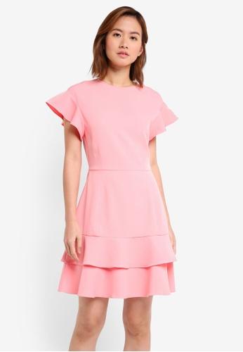 ZALORA pink Double Layered Flute Hem Dress 9CA48AA5438986GS_1