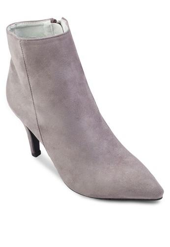 麂皮側拉鍊細跟高跟短靴, 女鞋,esprit 高雄 靴子