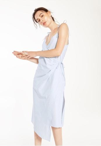 Pomelo blue Galla Striped Bow Tie Dress E79ECAA7CB64F7GS_1