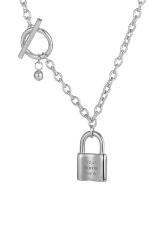 CELOVIS silver CELOVIS - Commitment Padlock Pendant Toggle Clasp Necklace in Silver 23603AC488FB53GS_1